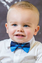 Azure and Denim Stripe Bow Tie (Boys and Men)