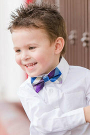 Azure and Violet Plaid Bow Tie (Boys and Men)