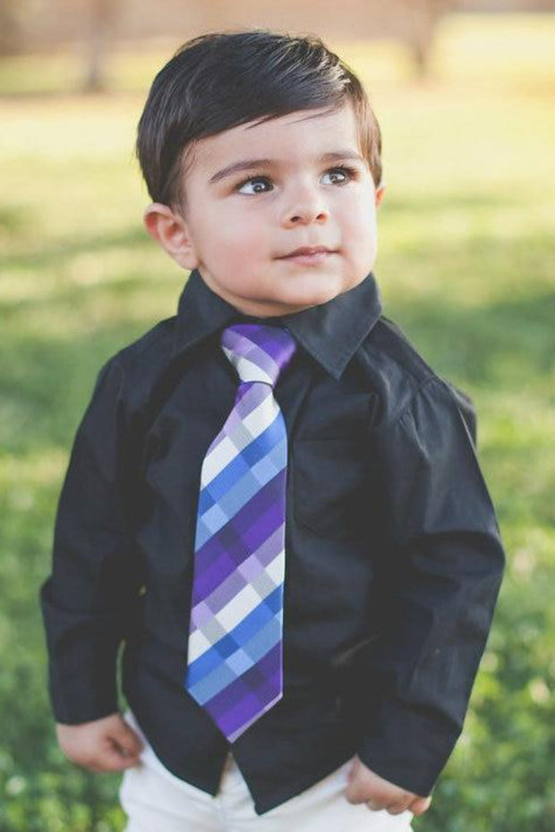 Azure and Violet Plaid Zipper Tie (Boys and Men)