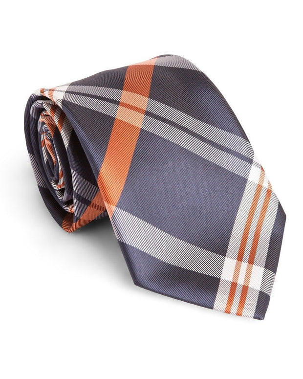 Pumpkin and Navy Plaid Standard Necktie (Adult and Youth)