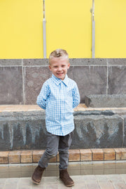 Baby Blue Gingham Dress Shirt