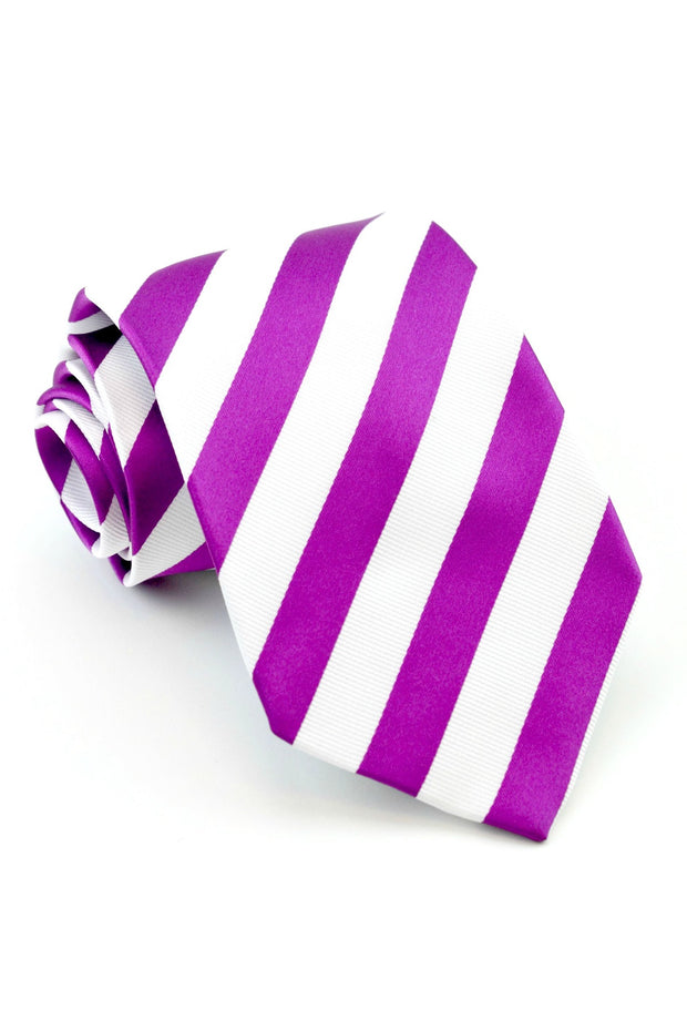 Berry and White Stripe Tie