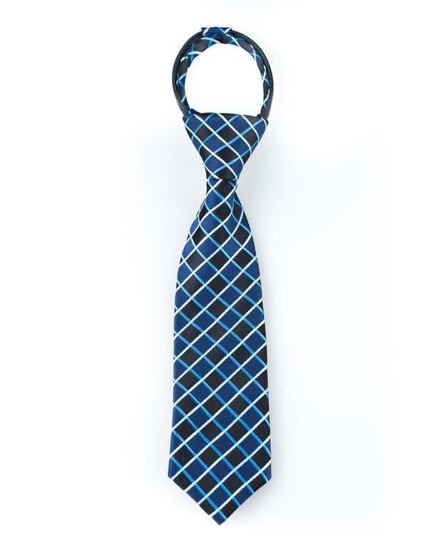 Black and Navy Squares Zipper Tie