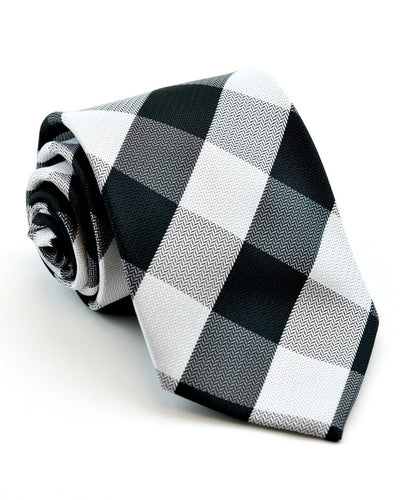 Black and White Check Standard Necktie