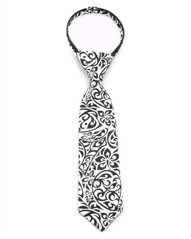 Black and White Tribal Zipper Tie