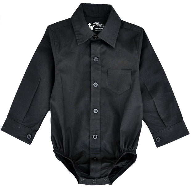 Long Sleeve Black Dress Shirt Bodysuit