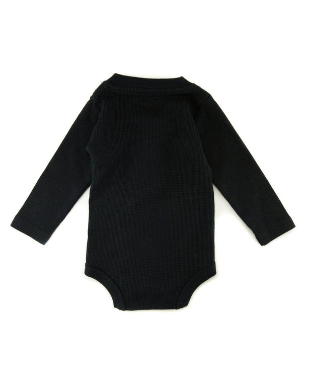 Black Thermal Henley Bodysuit