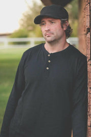 Black Men's Thermal Henley Shirt