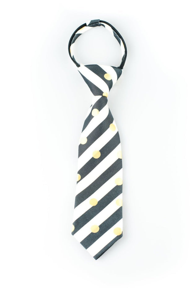 Black, White, and Gold Dots Zipper Tie