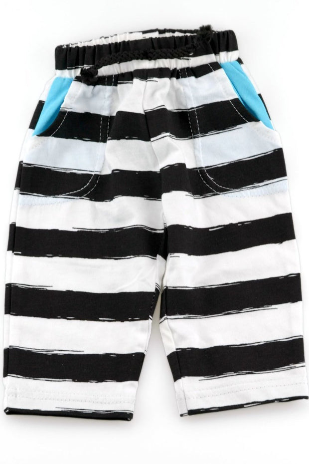Black & White Stripe Peekaboo Pocket Jogger Pants