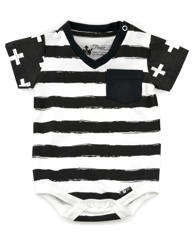 Black & White Stripe Color Block V-Neck Bodysuit