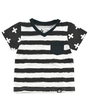 Black & White Stripe Color Block V-Neck Shirt