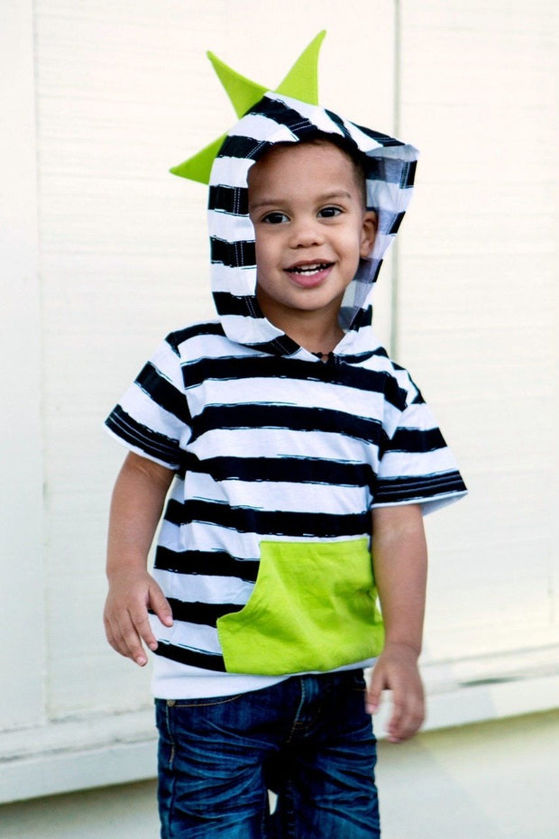 Black & White Stripe with Lime Short Sleeve Dino Hoodie