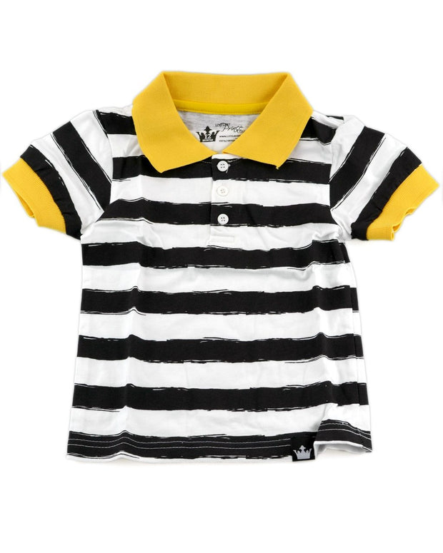 Black & White Stripe Polo Shirt