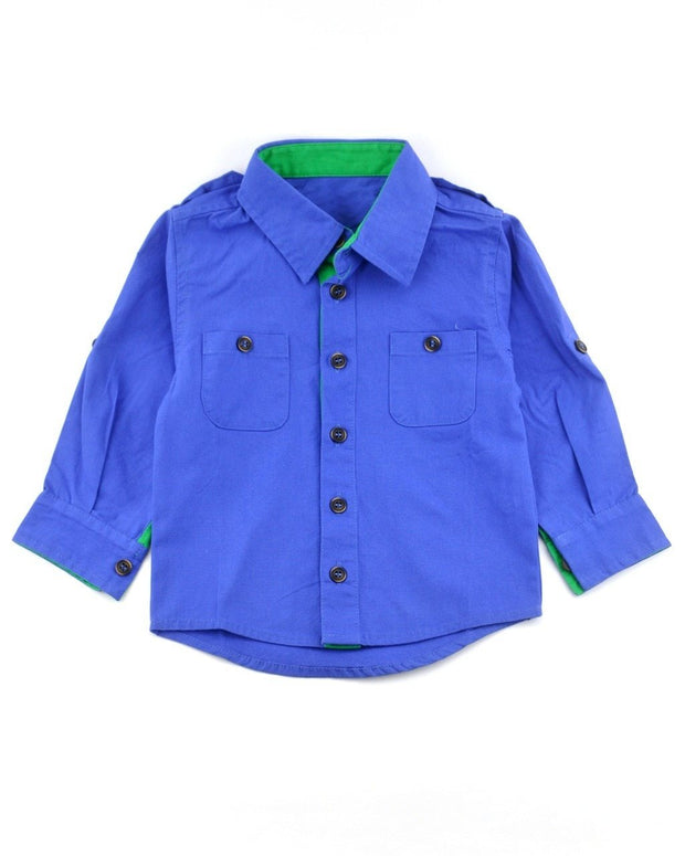 Long Sleeve Blue Canvas Dress Shirt