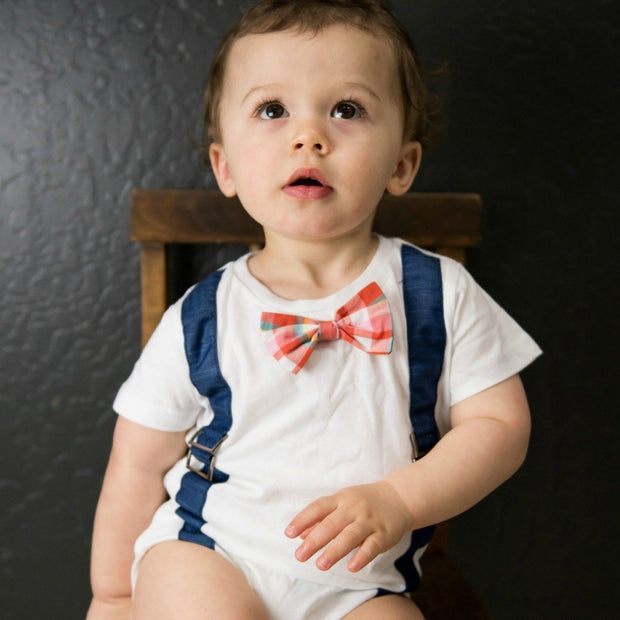 Blue Faux Suspender Bodysuit with Interchangeable Bow Ties