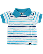 Blue, Turquoise, & White Stripe Polo Shirt