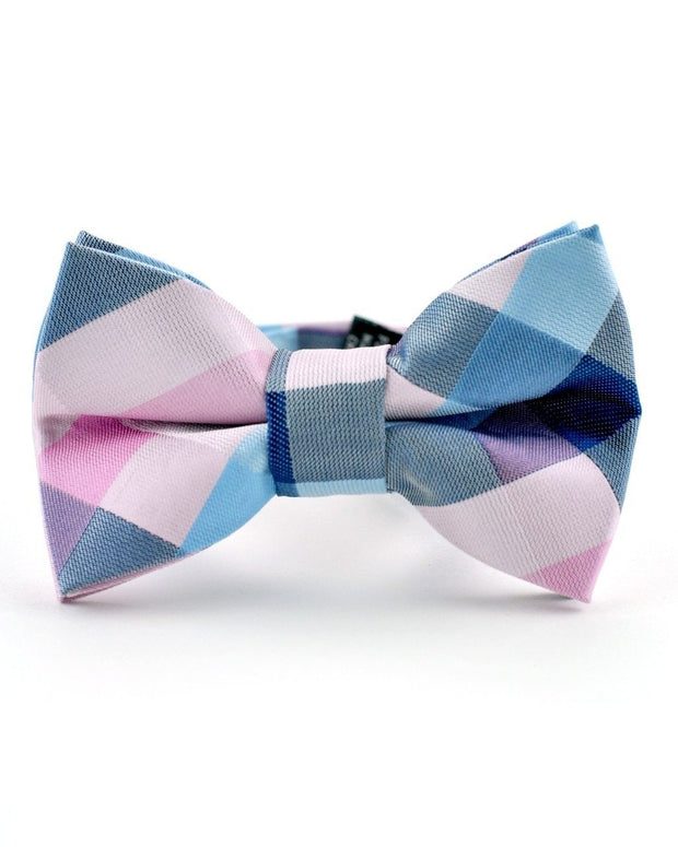Blush and Blue Plaid Bow Tie (Boys and Men)