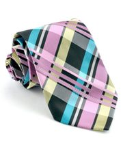 Bubble Gum and Black Plaid Standard Necktie