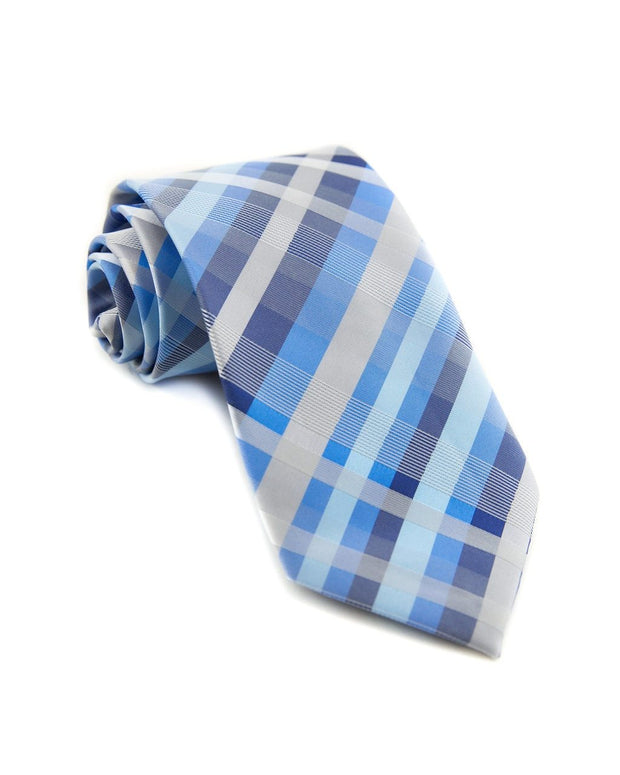Baby Blue Plaid Standard Necktie (Adult and Youth)