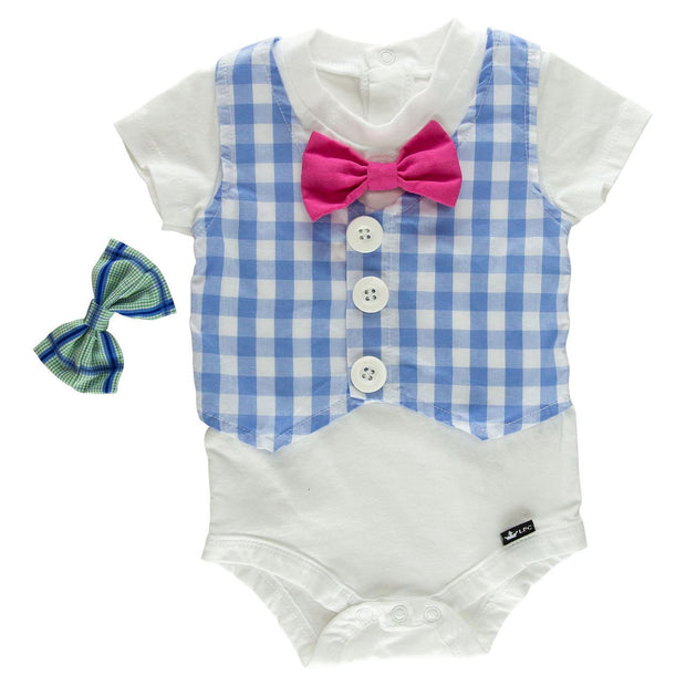 Baby Blue Gingham Faux Vest Bodysuit with Interchangeable Bow Ties