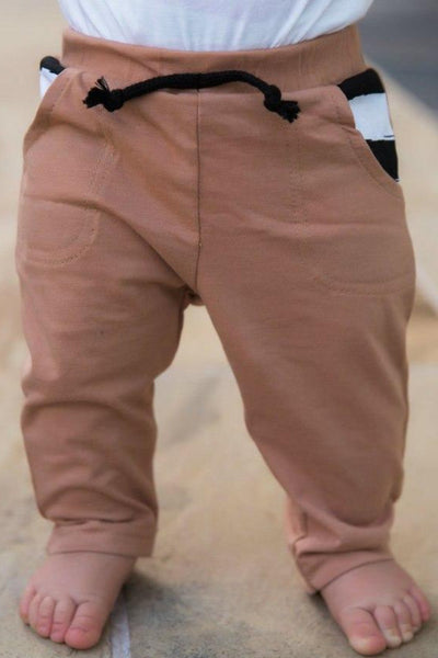 Camel & Stripe Peekaboo Pocket Jogger Pants