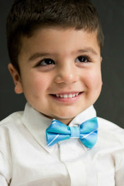 Cerulean and Sapphire Stripe Bow Tie (Boys and Men)