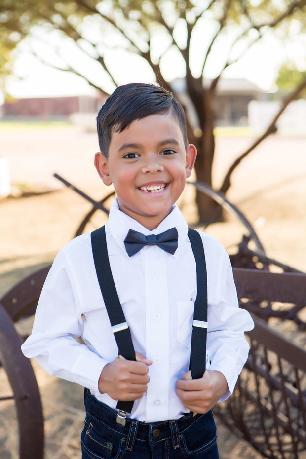 Charcoal Solid Bow Tie (Boys and Men)