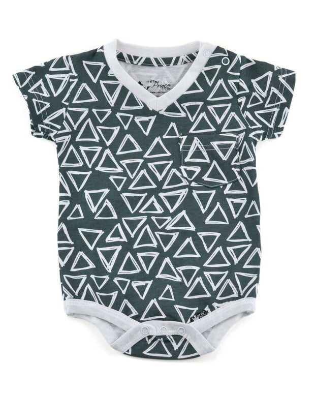 Charcoal Triangles V-Neck Bodysuit