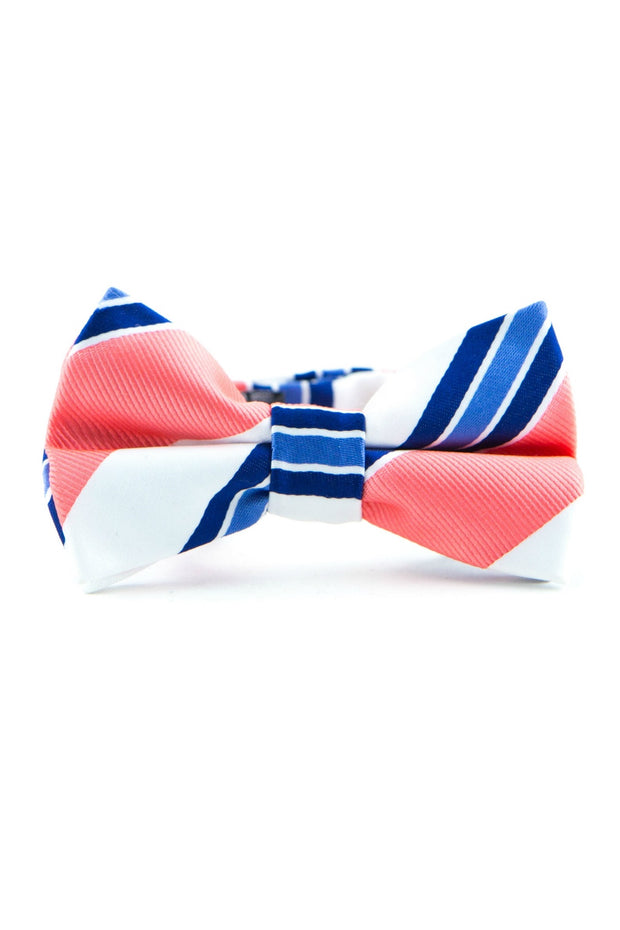 Cobalt and Coral Stripe Tie