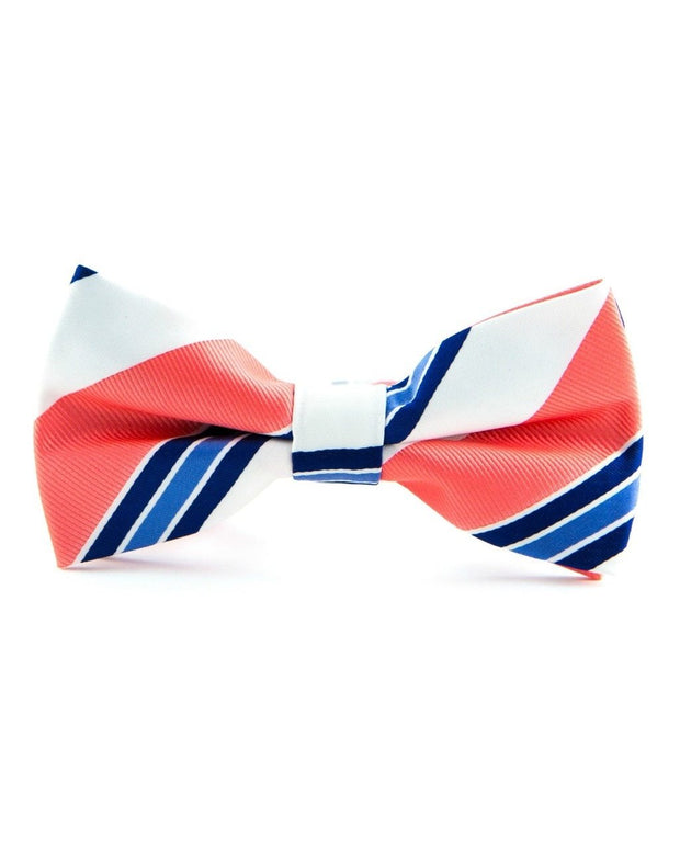Cobalt and Coral Stripe Bow Tie (Boys and Men)