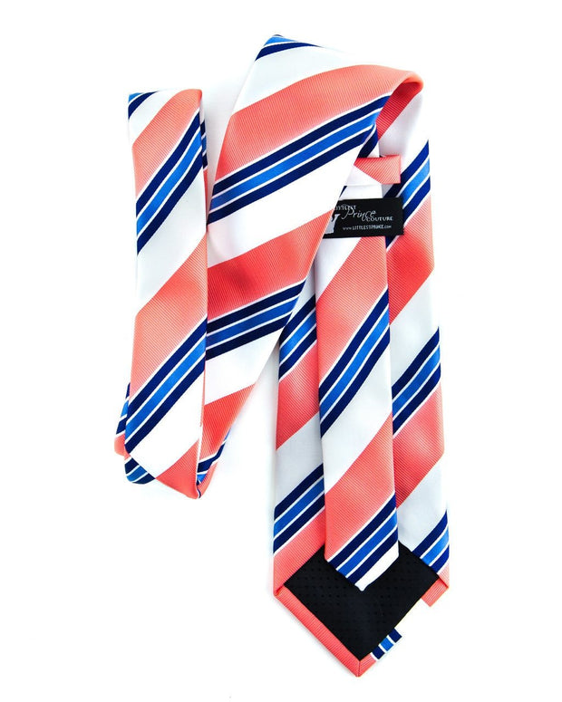 Cobalt and Coral Stripe Standard Necktie (Adult and Youth)