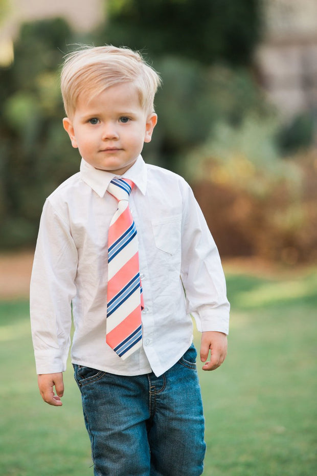 Cobalt and Coral Stripe Zipper Tie (Boys and Men)