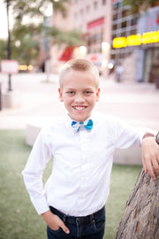 Cobalt and Silver Stripe Bow Tie (Boys and Men)