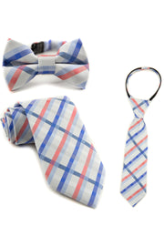Coral and Blue Plaid Tie