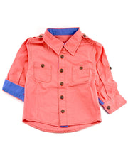 Long Sleeve Coral Canvas Dress Shirt