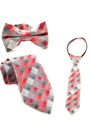 Coral and Slate Squares Tie