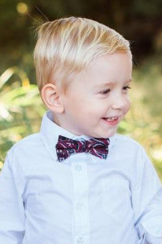 Crimson and Black Paisley Bow Tie (Boys and Men)