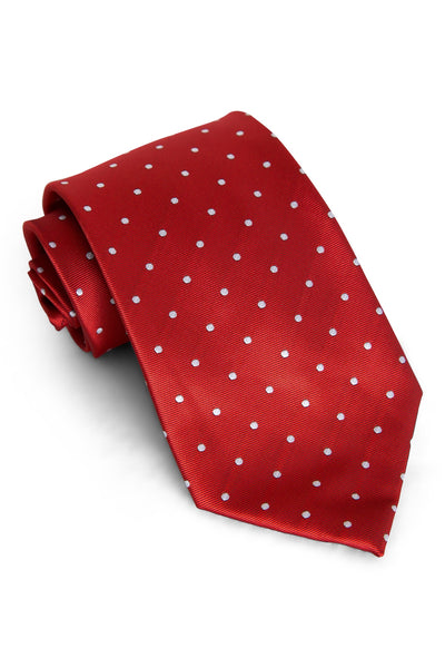 Crimson & White Dots Tie