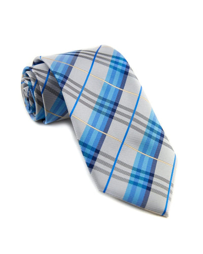 Mist and Sky Plaid Standard Necktie (Adult and Youth)