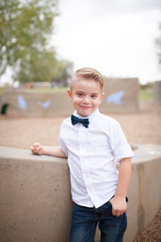 Deep Teal and Black Plaid Bow Tie (Boys and Men)