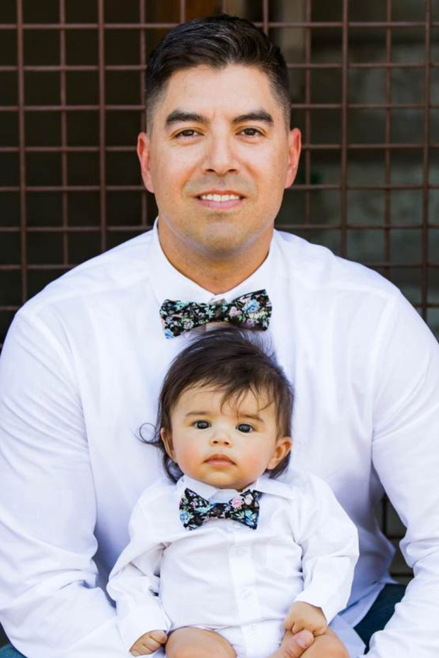 Black and Baby Blue Floral Bow Tie (Boys and Men)