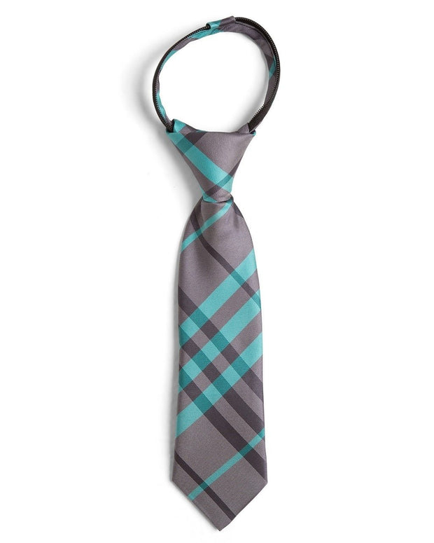 Graphite and Mint Plaid Zipper Tie (Boys and Men)