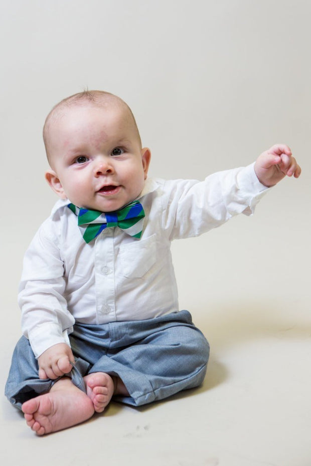 Emerald and Cobalt Stripe Bow Tie (Boys and Men)