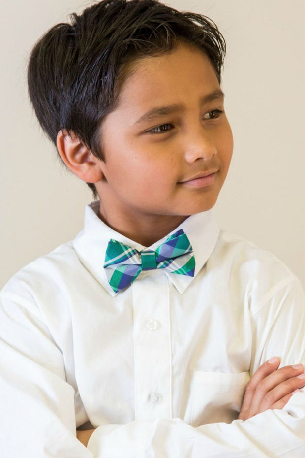 Emerald and Indigo Plaid Bow Tie (Boys and Men)