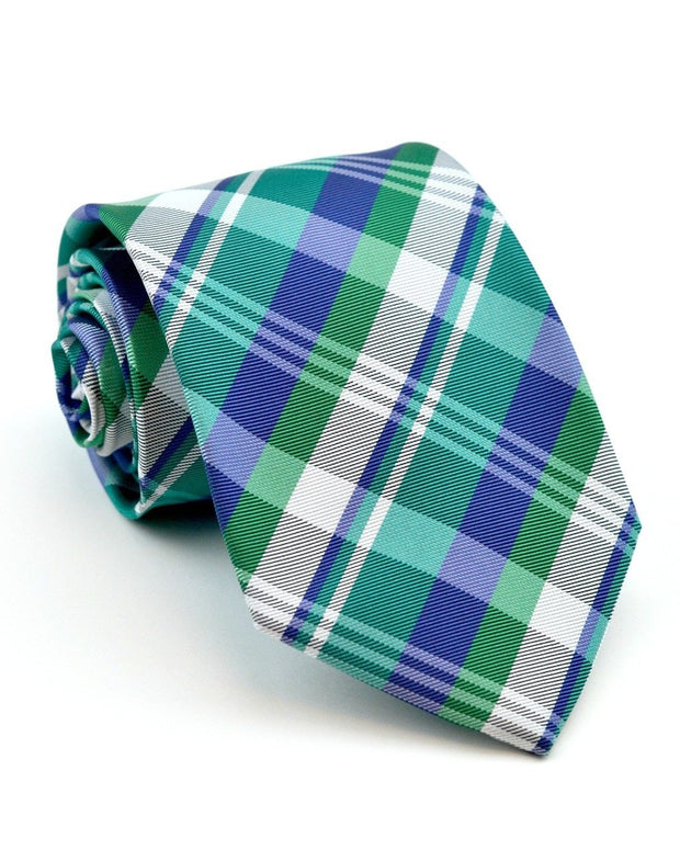 Emerald and Indigo Plaid Full Size Tie