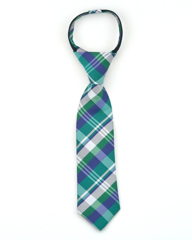 Emerald and Indigo Plaid Zipper Tie