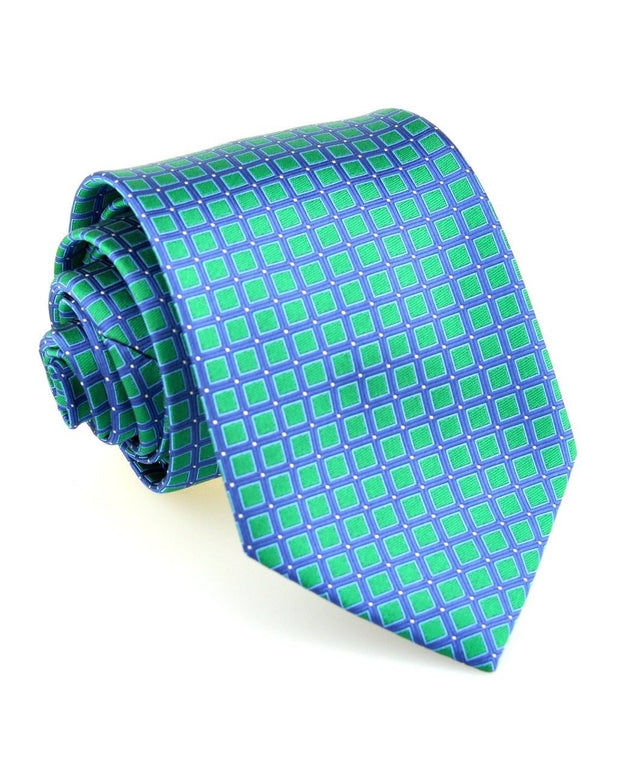 Emerald and Navy Squares Standard Necktie