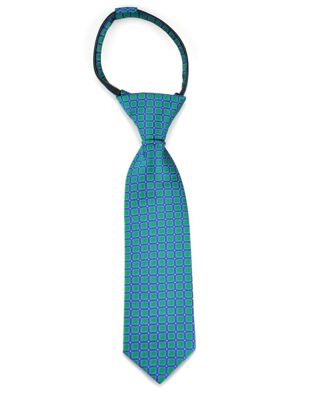 Emerald and Navy Squares Zipper Tie