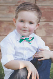 Emerald and Peppermint Stripe Bow Tie (Boys and Men)